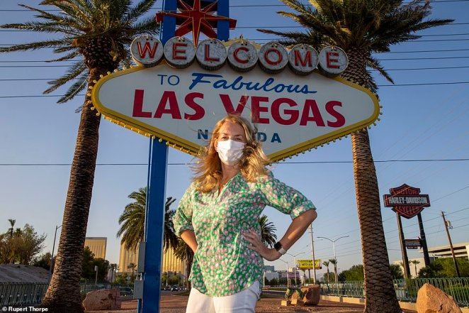 NO CROWDS: Caroline Graham at The Welcome to Las Vegas Sign, normally a busy selfie spot
