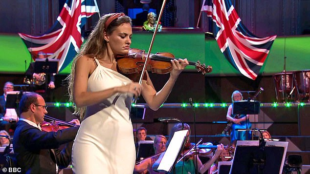 Violinist Nicola Benedetti (pictured) played Vaughan Williams¿ The Lark Ascending, which was intercut with idyllic scenes of the British countryside