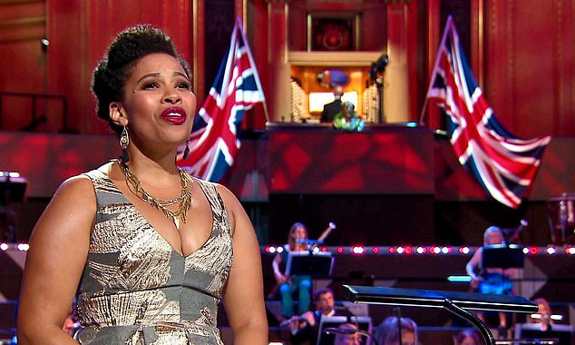 Soprano Golda Schultz (pictured) belted out a handful of the iconic tunes alongside 44 socially-distanced members of the BBC Symphony Orchestra, conducted by Finnish star Dalia Stasevska