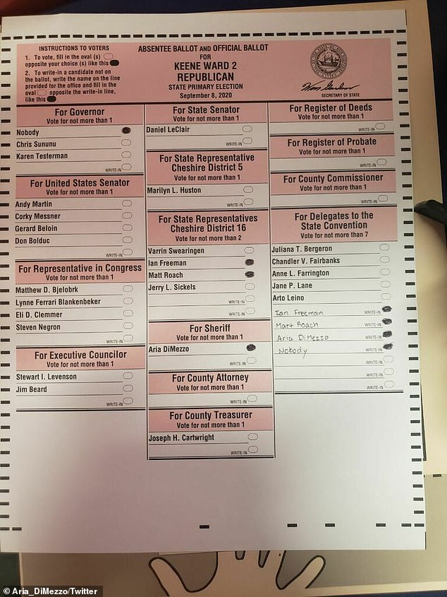DiMezzo posted an image of a ballot which showed that she ran unopposed in Tuesday's GOP primary