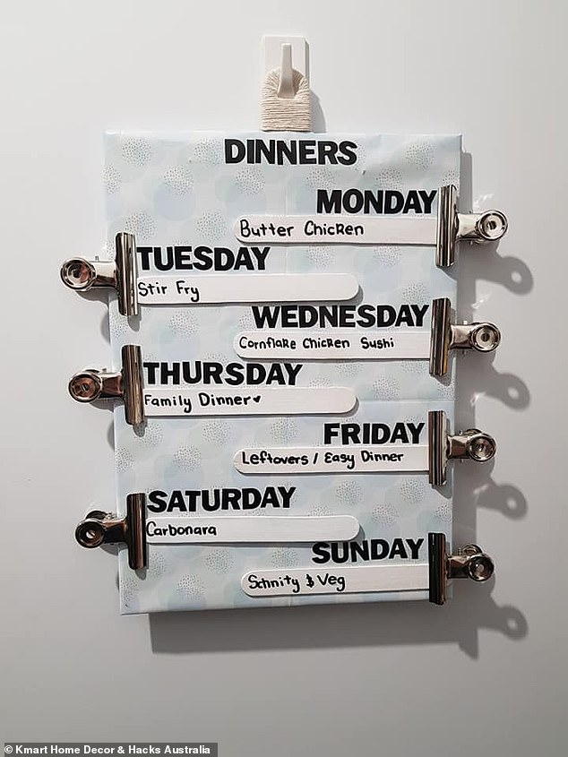 An Australian supermarket employee who never knows what to make for dinner has shared her clever meal-plan idea to make dinnertime easier during the week.The simple hack involves choosing up to five meals to allocate to a day of the week on a meal-plan board hung to the wal