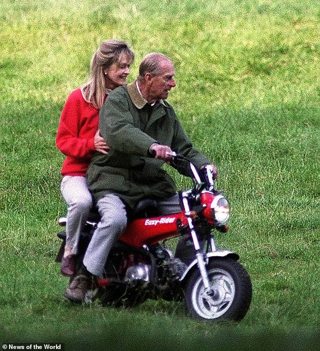 They are pictured together on a minibike in 2000.Blonde, slim and still strikingly beautiful, Penny, who is 32 years younger than Philip, has known the Duke for decades and been his partner in carriage-driving competitions since 1994