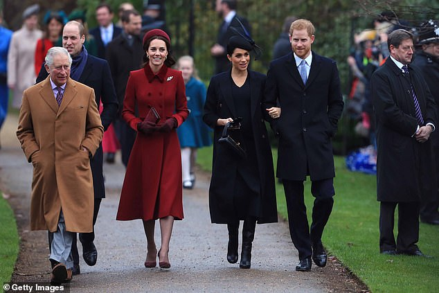 Prince Charles, Prince William, the Duchess of Cambridge, the Duchess of Sussex and Prince Harry arrive to attend Christmas Day Church Service on the Sandringham Estate in 2018