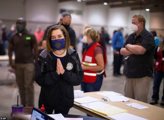 Oregon Governor Kate Brown toured the Oregon State Fairgrounds in Salem on Saturday where she spoke with volunteers and evacuees