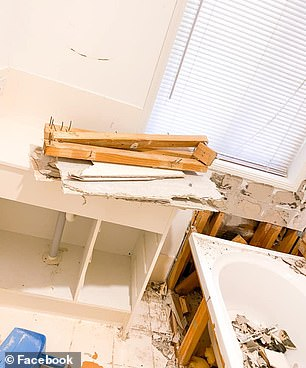 DURING: Bar moving the bath, Connie said she didn't re-do much of the plumbing as she wanted to save money, and she did the whole project for under $5k (pictured during)