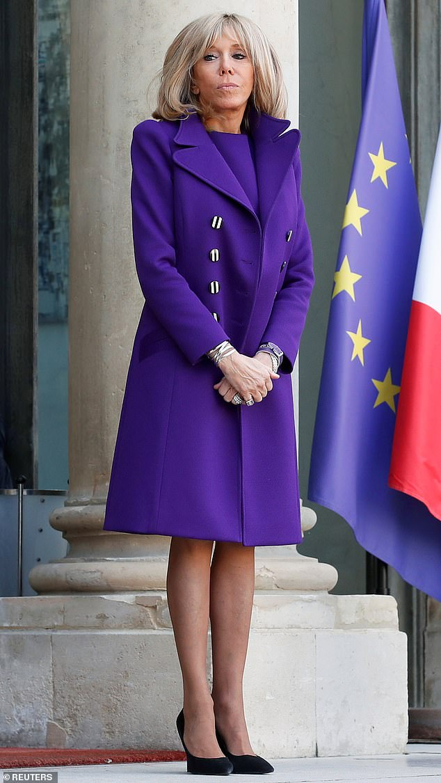 Brigitte Macron, the French First Lady and wife of Emmanuel Macron, opened up about her struggles as a first-time-mother in 1975 when she gave birth to her first child Sébastien, aged 21 (pictured in February 2020)