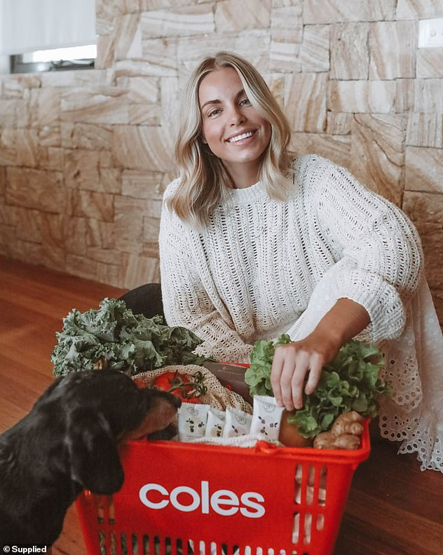 Ms Rumble's Beauty Bites (pictured in the basket) are now stocked in Coles and Priceline Australia-wide