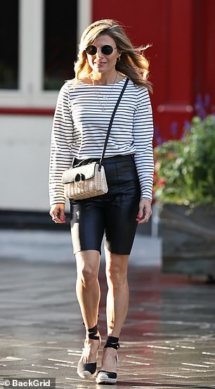 Awesome: Zoe Hardman was also in attendance, where she wore a striped top and cropped leather pants