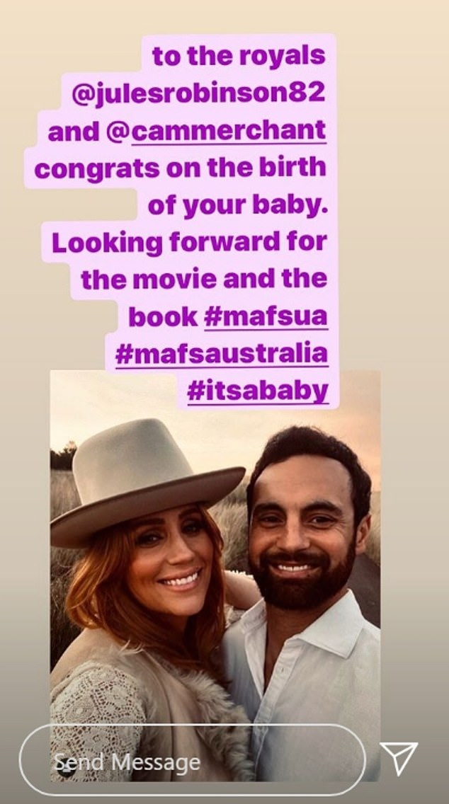 Congrats? Nasser posted a message congratulating Jules and her husband Cameron Merchant on the alleged new arrival in an Instagram Stories post