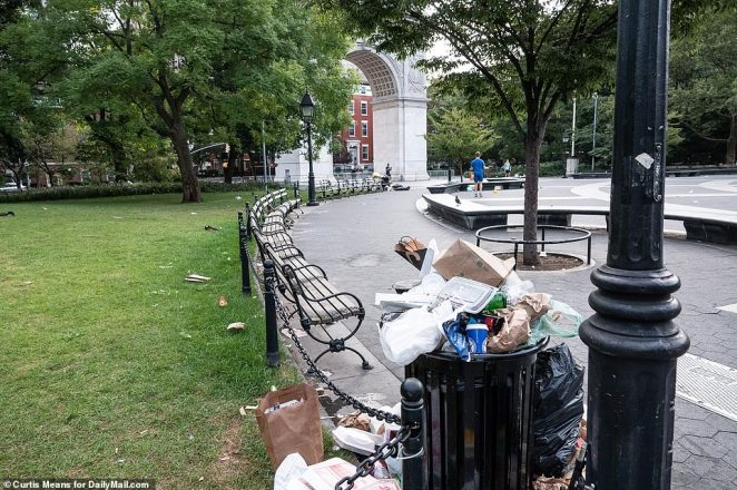 Piles of trash covered Manhattan's Washington Square Park on Sunday morning after large crowds of young revelers gathered there to party for the second weekend in a row