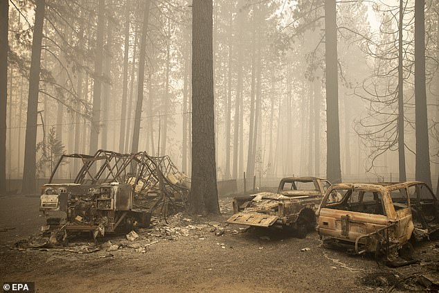 Wildfires in California have worsened over the past years, fueled by the warming planet and more severe weather conditions.Vehicles that were destroyed by the Bear fire, part of the North Complex fires, in Berry Creek, California above on Saturday
