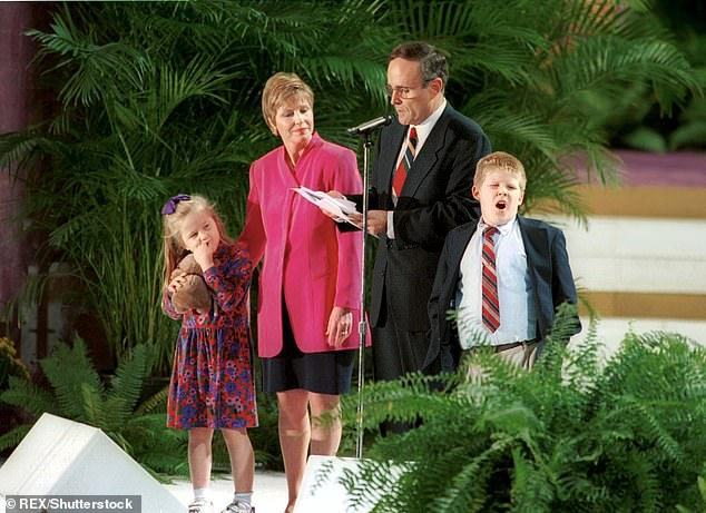 Pictured (left to right): Caroline Giuliani, Donna Hanover, Rudy Giuliani and Andrew Giuliani