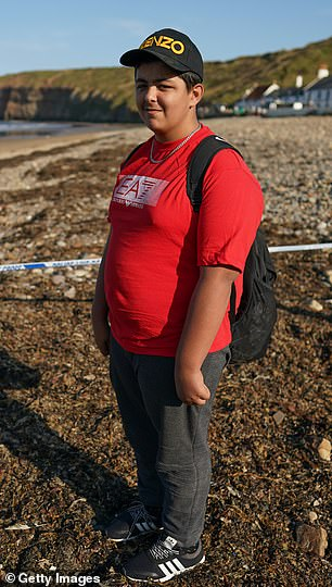 Azaan Jami, 14, discovered the grenade while hunting for fossils on Saltburn beach