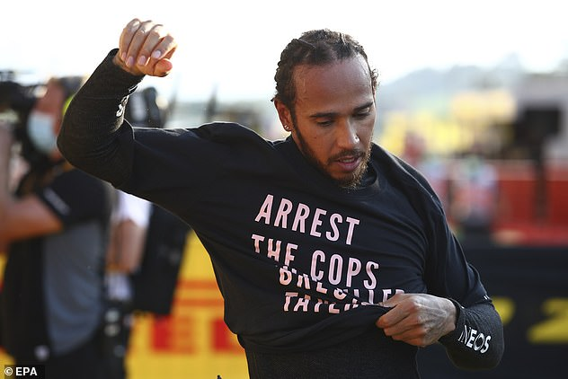 Today Mr Hamilton, 35, arrived at the Mugello Circuit in Italy with the words 'Arrest the cops who killed Breonna Taylor' written across his torso
