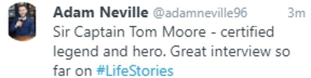 And eager watchers quickly took to Twitter to share their support for the WWII hero - with one supporter dubbing him 'the best thing to come out of 2020 so far'