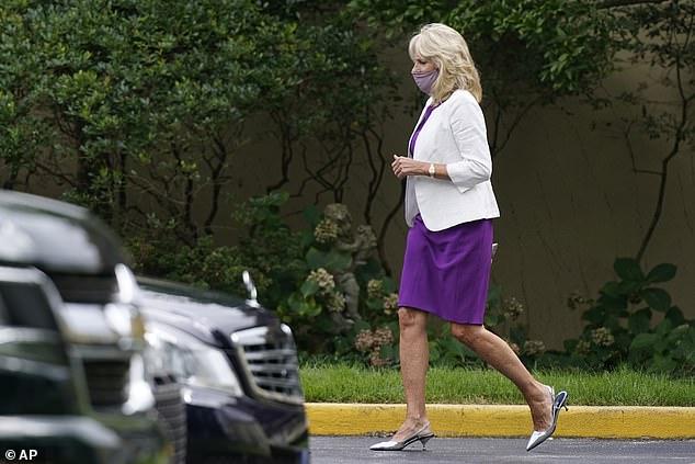 Jill Biden pictured departing St. Joseph on the Brandywine Roman Catholic Church in Wilmington on Sunday