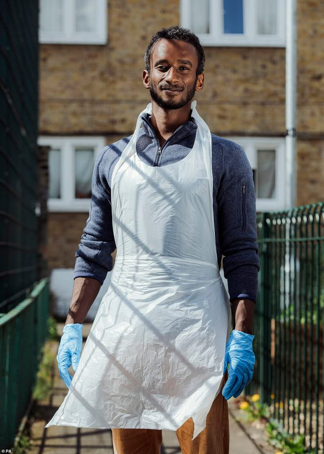 Sami By Grey Hutton. Hackney, London. Grey says: 'I met Sami on his first day volunteering at a food bank in Hackney. Sami, who is from Sudan, had just moved into an apartment overlooking the food hub. He saw what was happening below, and came down to lend a hand. It's everyday acts of kindness like his that have brought communities together through this crisis'