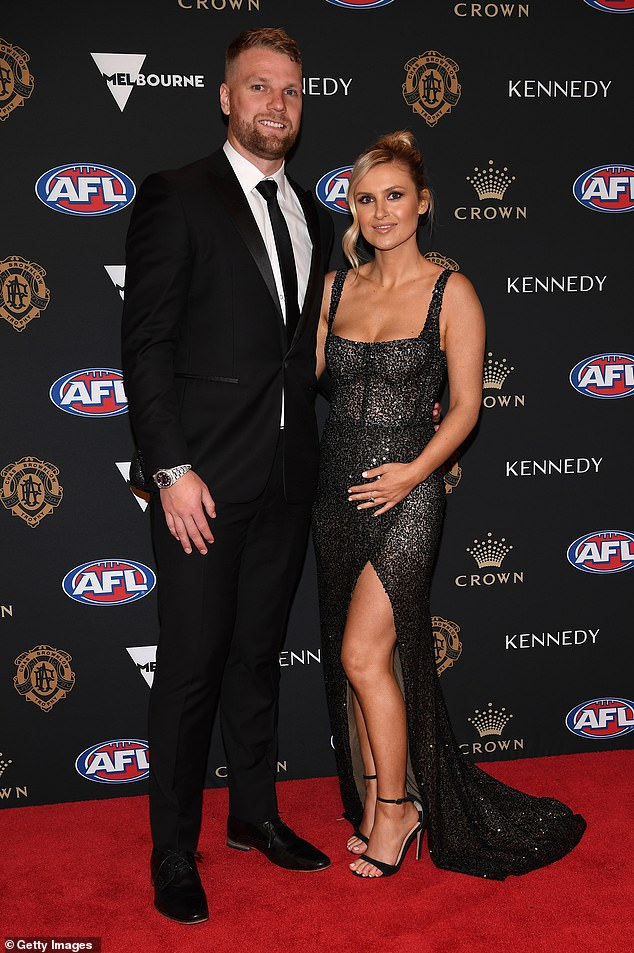 Stringer and his partnerTaylor McVeigh pose at the 2019 Brownlow Medal Ceremony in Melbourne