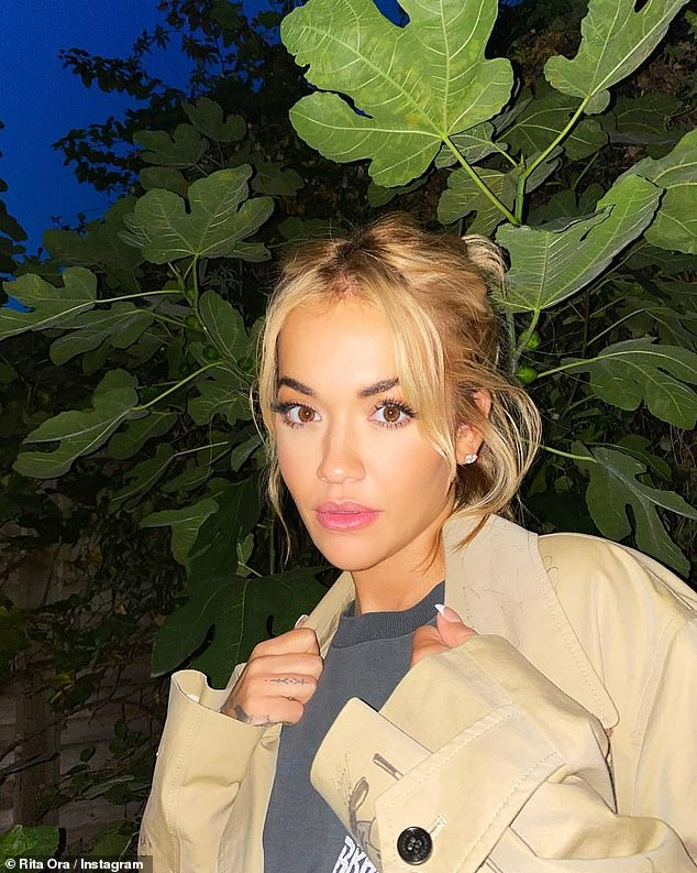 Looking good: Rita shared a stylish snap while posing at night to her Instagram on Sunday