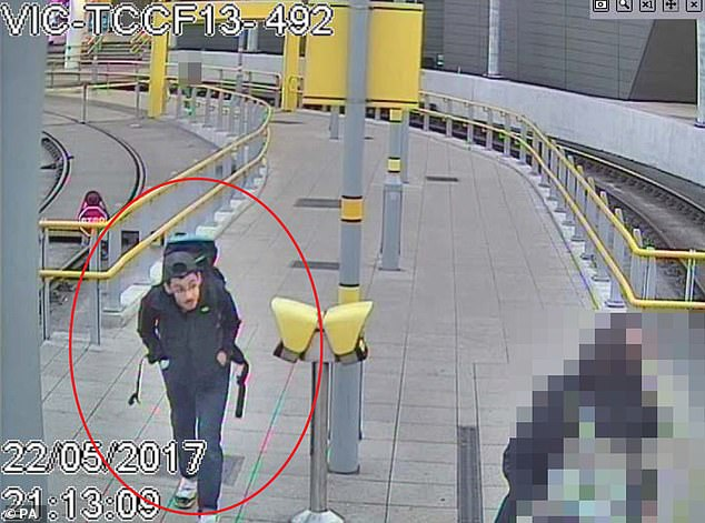 Pictured: CCTV image ofsuicide bomber Salman Abedi at Victoria Station making his way to the Manchester Arena, on May 22, 2017, where he detonated his bomb