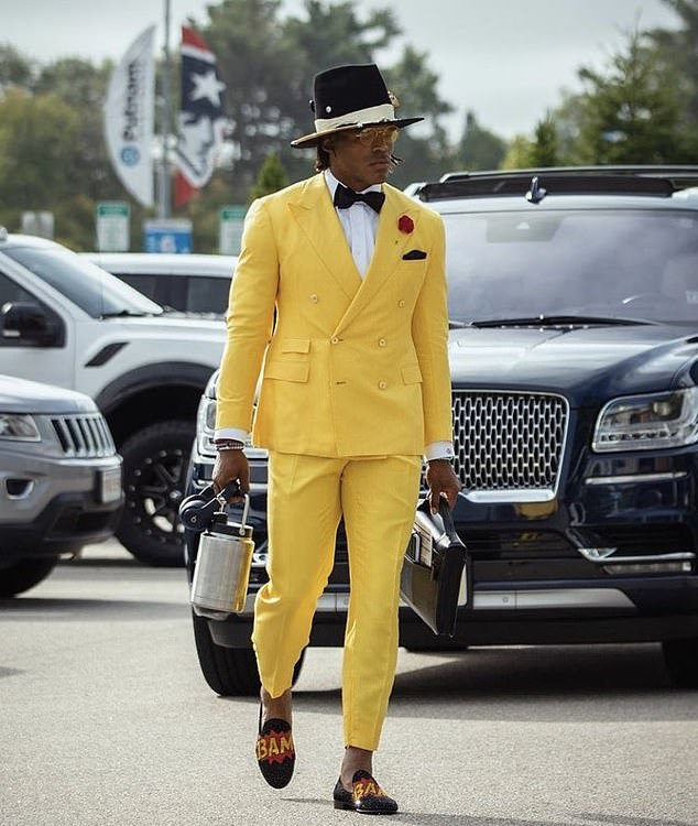 Cam Newton's outfit stood out as he arrived for his first game for the New England Patriots