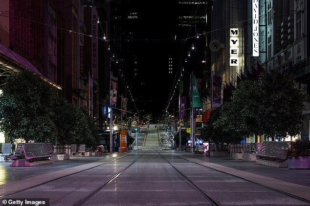 Melbourne's night curfew will be reduced by one hour to start at 9pm. Pictured is a deserted Bourke Street Mall on Thursday night