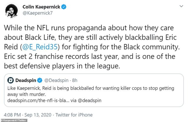 Kaepernick appeared to be angered by the NFL pushing its social justice initiatives while his former teammate Eric Reid remained a free agent to start the season