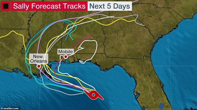 The journey of Hurricane Sally is heading north west and above shows activity expected over the next five days
