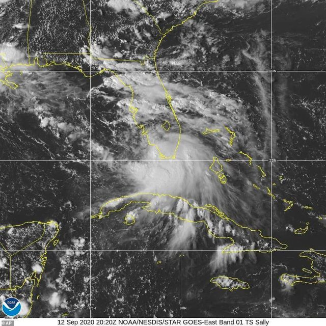 This Saturday, Sept. 12, 2020 image provided by NOAA shows the formation of Tropical Storm Sally. The storm is expected to reach hurricane strength on Monday