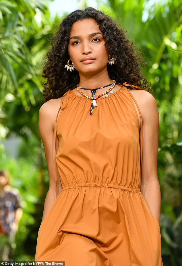Spring 2021: The 25-year-old model slipped their slender frame into a stunning floor-length sundress pulled directly from Wu's highly anticipated Spring 2021 collection