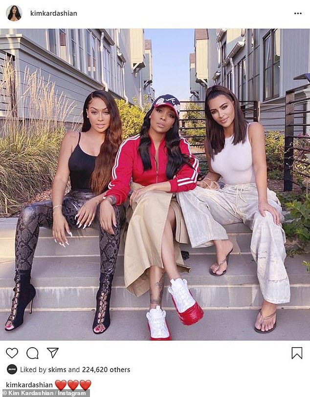 A little help from her friends: Kim Kardashian shook off the drama by uploading a sweet snapshot of herself, longtime friend, La La Anthony, 39, and singer Monica Denise, 39, to Instagram on Sunday