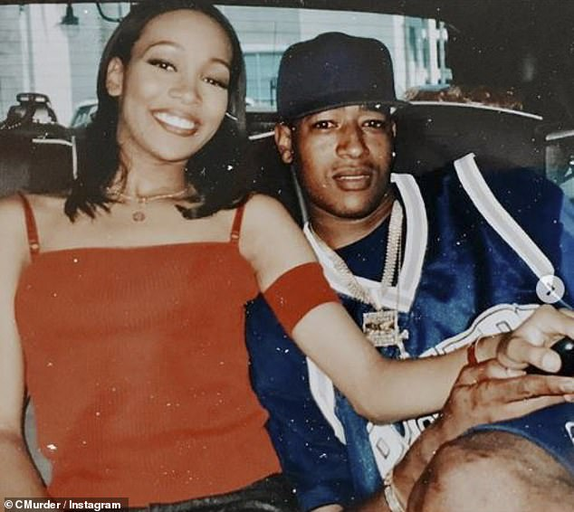 Joint effort: Monica recently joined Kim's prison reform agenda, particularly regarding the release of rapper and friend Corey 'C-Murder' Miller; Monica pictured with Corey