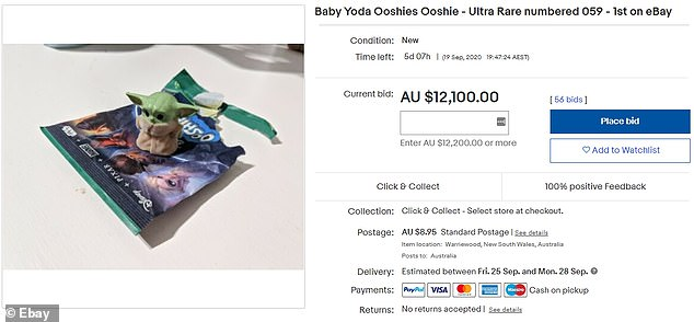 A Woolworths shopper cashing in on the first ever 'ultra rare' furry Baby Yoda Ooshie on eBay has sparked a bidding war after the collectable fetched more than $12,000