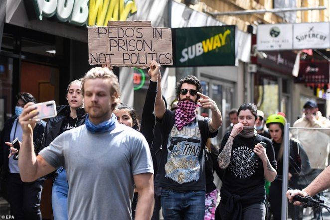 Melburnians marched from the market towards the CBD after police busted up their rally