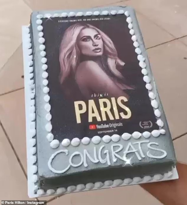 Party time: Paris Hiltoncelebrated her documentary Sunday evening, as she took to her Instagram Story to show off some balloons and a cake, with which her sweet boyfriend Carter Reum surprised her