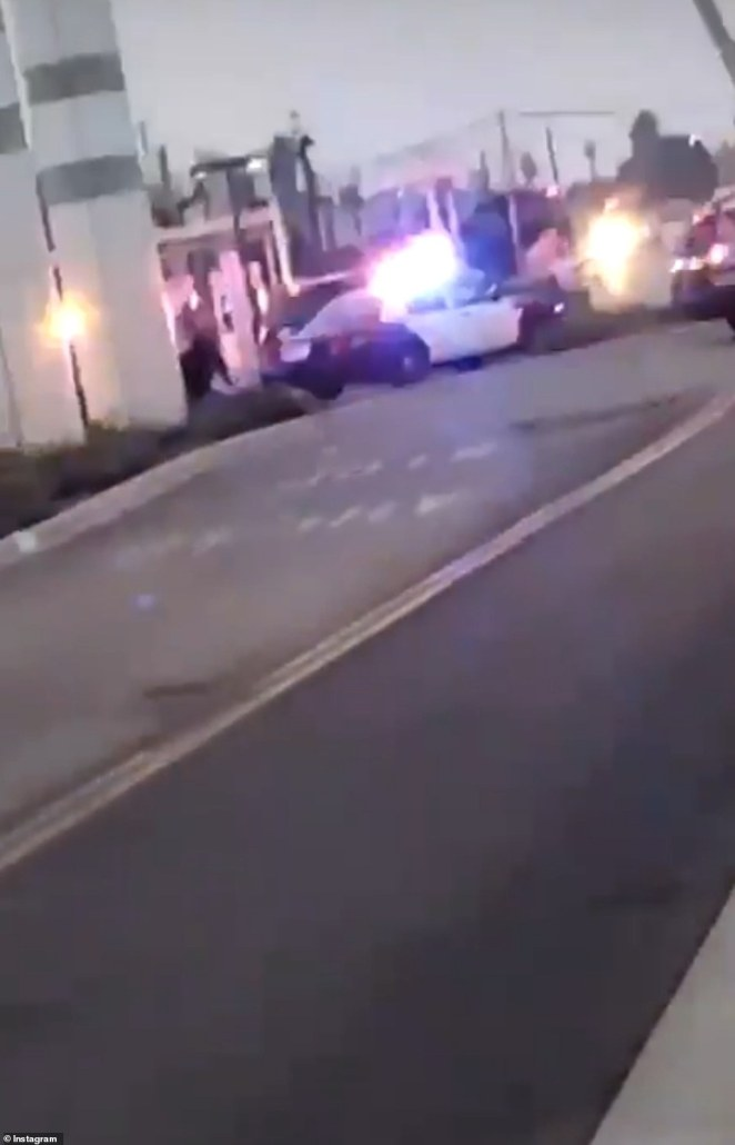 Newly emerged footage shows police patrol cars rushing to the scene in Compton on Saturday night