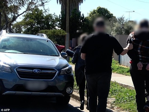 The AFP-led Criminal Assets Confiscation Taskforce (CACT) will now be targeting paedophiles with a new and 'aggressive stragety'. Pictured:An arrest of an Adelaide man allegedly trying to meet a 14 year old girl