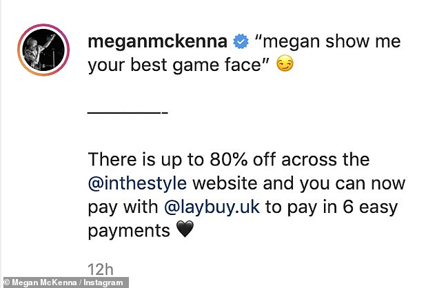 """Captioning the snap for the Instagram post, she wrote: '""""Megan show me your best game face""""'"""
