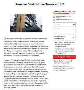 An online petition is calling for the renaming of the David Hume Tower