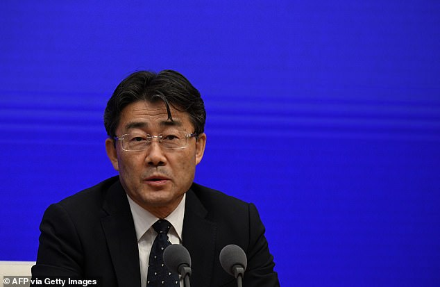Director of the Chinese Center for Disease Control and Prevention (China CDC), Dr Gao Fu, said nationwide coronavirus vaccinations would only be necessary if there was another major outbreak. Above, a file image of Dr Gao Fu pictured during a press conference in January