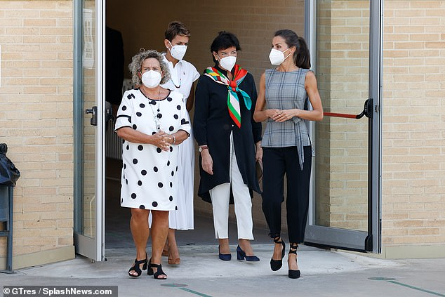 Queen Letizia of Spain put safety first with a mask as she headed to a school to mark the beginning of the school term. The Spanish Queen, 47, headed to the Nuestra Señora del Patrocinio College in Milagro, Navarra to mark the start of the Spanish academic year
