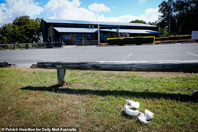 Bloodied bandages were left at the scene of the fatal stabbing on Monday afternoon