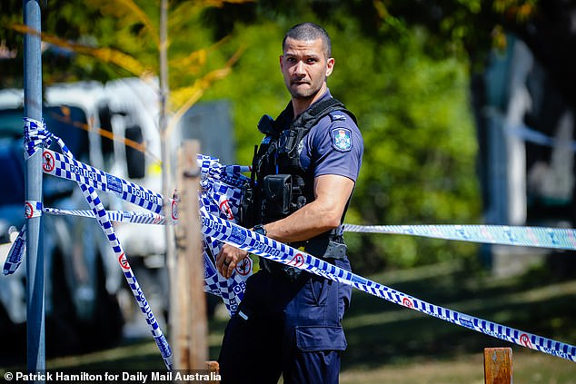 Police remained at the crime scene throughout Monday