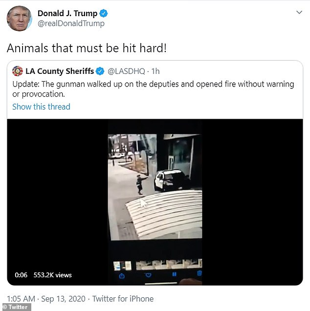 President Trump said that 'animals' must be 'hit hard' after the Los Angeles sheriff's department released video of the gunman who opened fire on two deputies