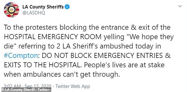 On Sunday the LA county sheriffs office tweeted about the protests outside the hospital