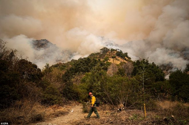 The Bobcat Fire burns in the Angeles National Forest north of Arcadia prompting evacuations, north East of Los Angeles