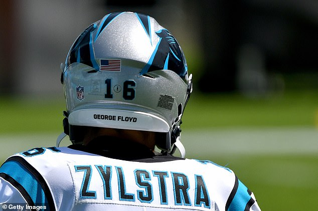 Brandon Zylstra #16 of the Carolina Panthers wears the name of George Floyd oh his helmet before a game against the Las Vegas Raiders at Bank of America Stadium on Sunday