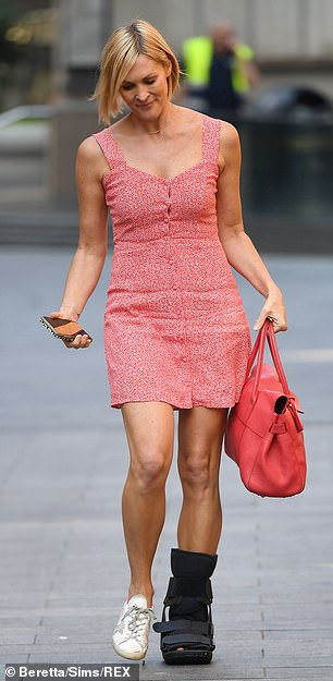 Tanned and toned: The sleeveless number allowed the presenter to show off her tanned and toned frame