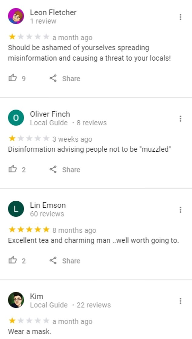 Mr Scheider's policy appears to be proving unpopular with unhappy locals who accuse the shopkeeper of spreading 'misinformation' on Google reviews