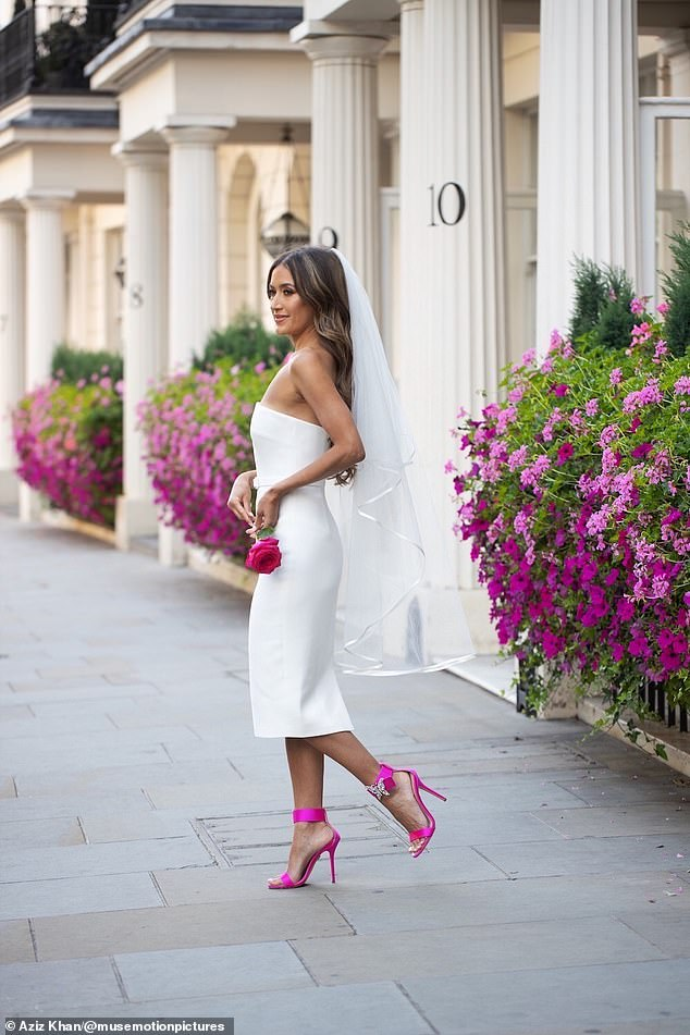Elegant: For the reception, Aruna slipped into a second Suzanne Neville dress and Aruna Seth heels